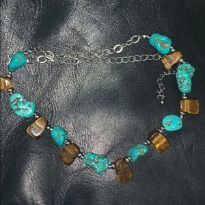 Turquoise and tigers eyes Coker necklace